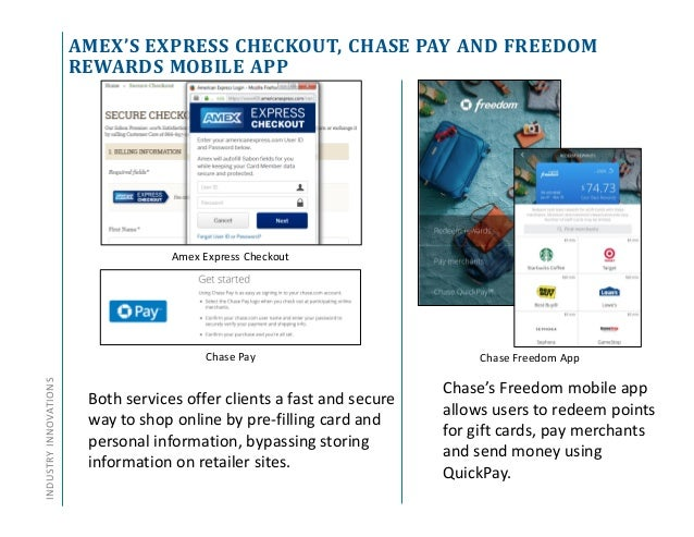 AMEX'S EXPRESS CHECKOUT, CHASE PAY AND FREEDOM REWARDS MOBILE APP INDUSTRYINNOVATIONS Both services offer clients a fast a...