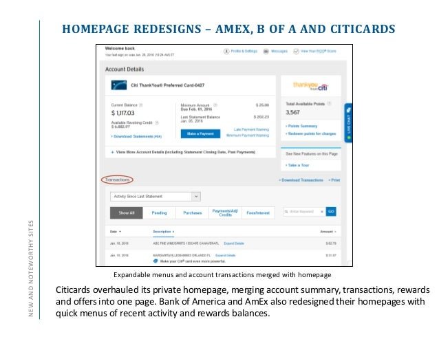 HOMEPAGE REDESIGNS – AMEX, B OF A AND CITICARDSNEWANDNOTEWORTHYSITES Expandable menus and account transactions merged with...