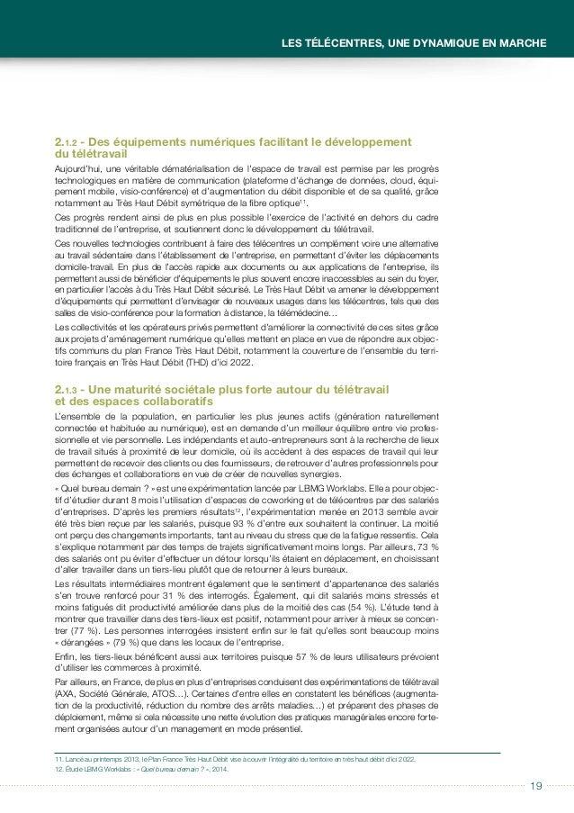 2020 Guide à usage des collectivités locales Télécentres et tiers-lieux Le télétravail permet en outre une réduction de la...