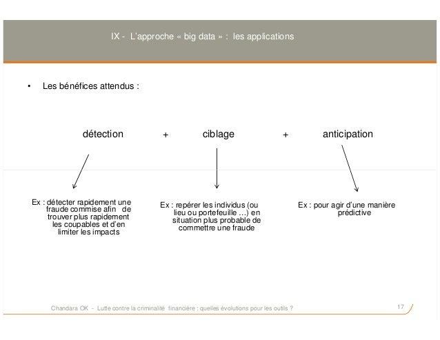 IX - L'approche « big data » : les applications • Les bénéfices attendus : détection + ciblage + anticipation 17 Ex : déte...