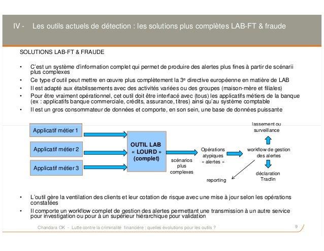 SOLUTIONS LAB-FT & FRAUDE • C'est un système d'information complet qui permet de produire des alertes plus fines à partir ...