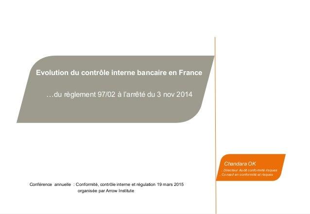 Evolution du contrôle interne bancaire en France …du règlement 97/02 à l'arrêté du 3 nov 2014 Chandara OK . Directeur Audi...