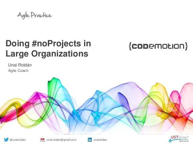 Agile Practice Doing #noProjects in Large Organizations Unai Roldán Agile Coach @unairoldan unai.roldan@gmail.com unairold...