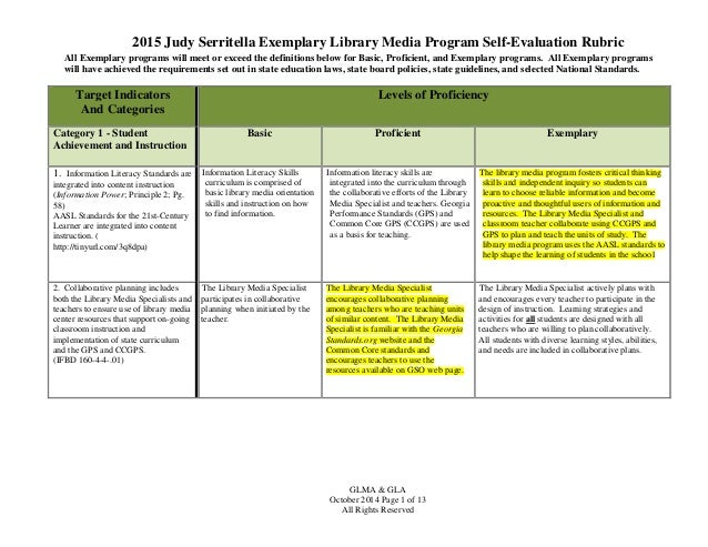 Program Evaluation Rubric