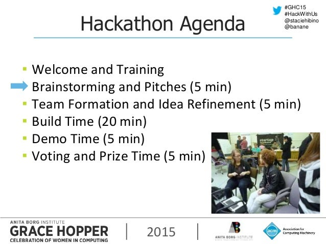 2015 #GHC15 #HackWithUs @staciehibino @bananeHackathon Agenda ▪ Welcome and Training ▪ Brainstorming and Pitches (5 min) ▪...