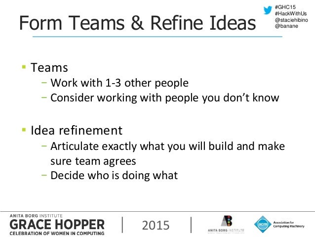 2015 #GHC15 #HackWithUs @staciehibino @bananeForm Teams & Refine Ideas ▪ Teams − Work with 1-3 other people − Consider wor...
