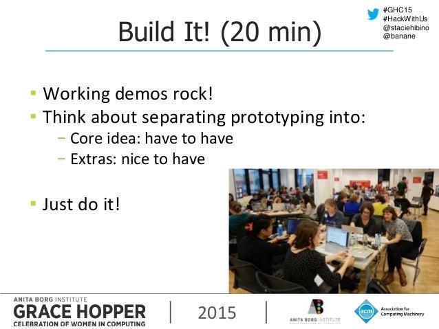 2015 #GHC15 #HackWithUs @staciehibino @bananeBuild It! (20 min) ▪ Working demos rock! ▪ Think about separating prototyping...