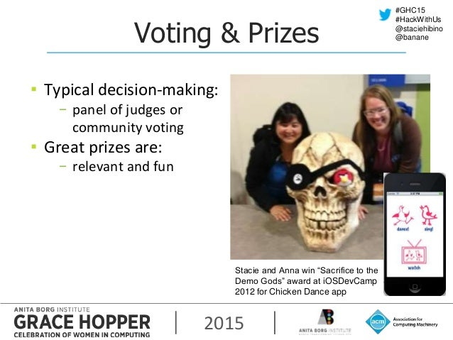 2015 #GHC15 #HackWithUs @staciehibino @bananeVoting & Prizes ▪ Typical decision-making: − panel of judges or community vot...