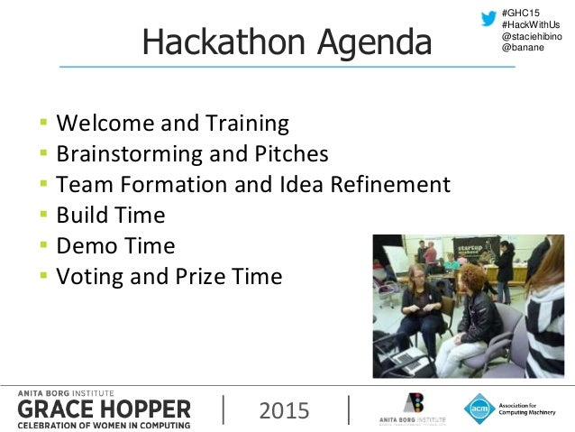 2015 #GHC15 #HackWithUs @staciehibino @bananeHackathon Agenda ▪ Welcome and Training ▪ Brainstorming and Pitches ▪ Team Fo...