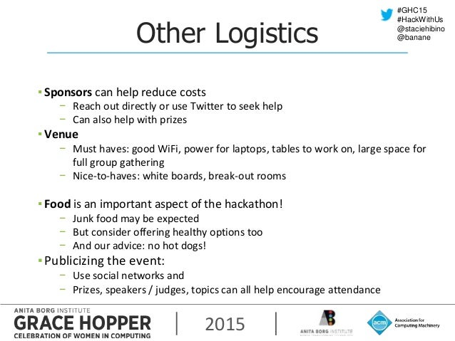 2015 #GHC15 #HackWithUs @staciehibino @bananeOther Logistics ▪ Sponsors can help reduce costs − Reach out directly or use ...