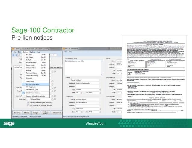 #InspireTour  Sage 100 Contractor  Pre-lien notices