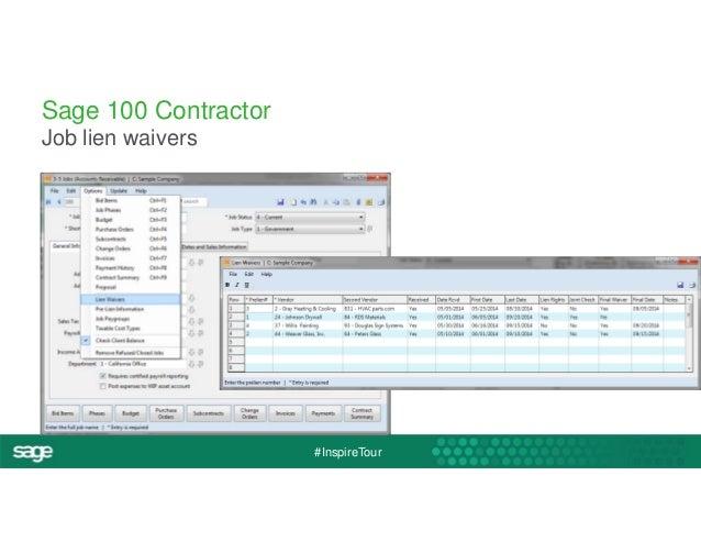 #InspireTour  Sage 100 Contractor  Job lien waivers