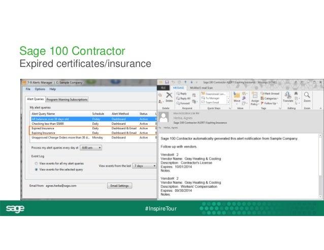 Sage 100 Contractor  Expired certificates/insurance  #InspireTour