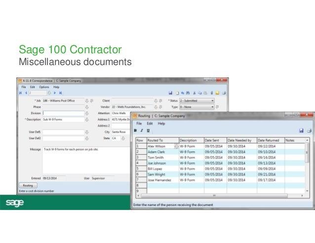 #InspireTour  Sage 100 Contractor  Miscellaneous documents
