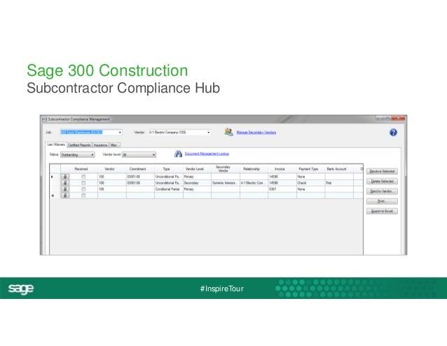 Sage 300 Construction  Subcontractor Compliance Hub  #InspireTour