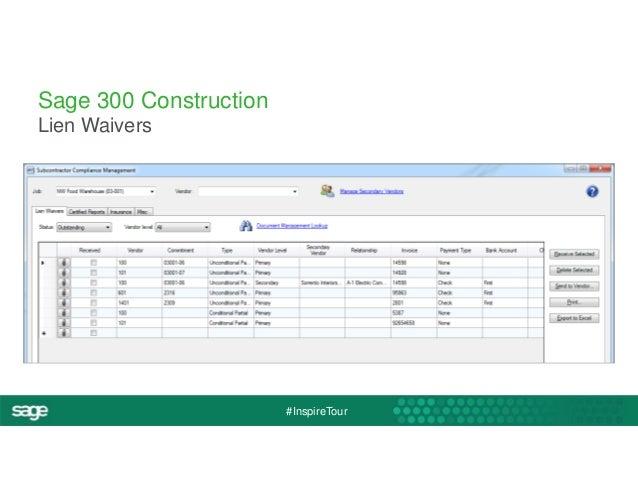 #InspireTour  Sage 300 Construction  Lien Waivers