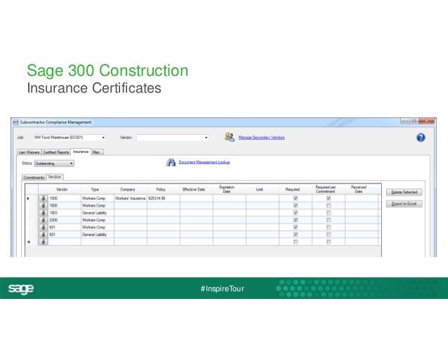 #InspireTour  Sage 300 Construction  Insurance Certificates