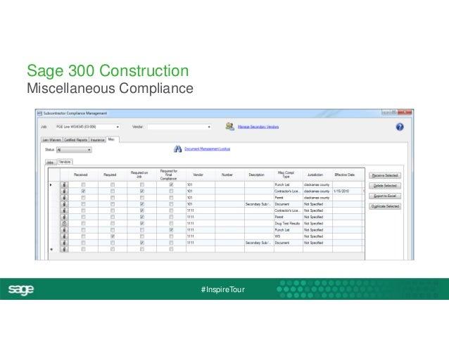 #InspireTour  Sage 300 Construction  Miscellaneous Compliance