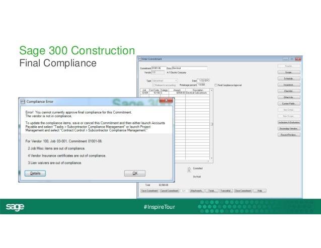 #InspireTour  Sage 300 Construction  Final Compliance