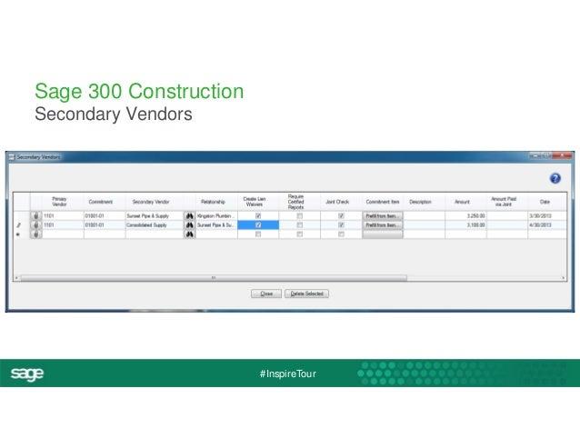 #InspireTour  Sage 300 Construction  Secondary Vendors