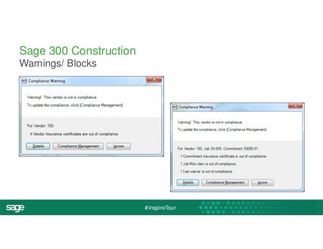 #InspireTour  Sage 300 Construction  Warnings/ Blocks
