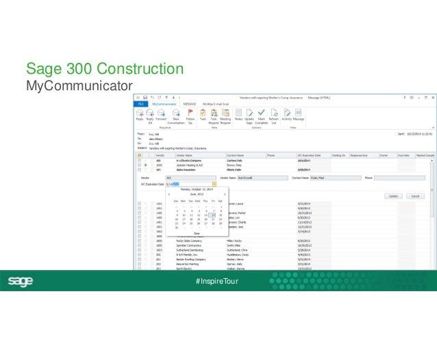 #InspireTour  Sage 300 Construction  MyCommunicator