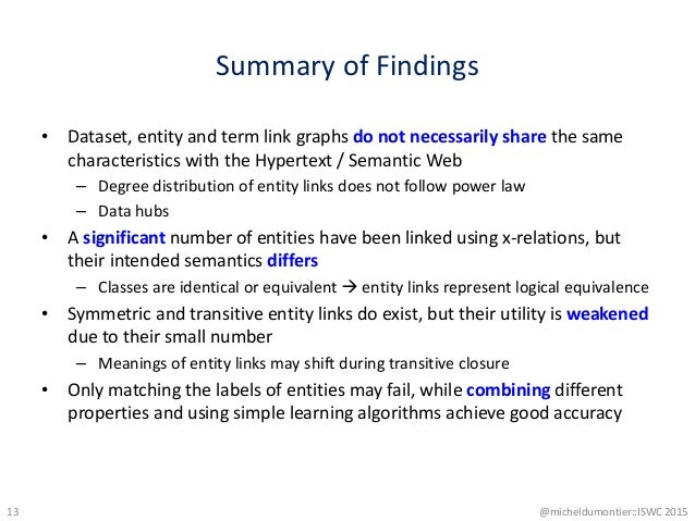 Summary of Findings • Dataset, entity and term link graphs do not necessarily share the same characteristics with the Hype...