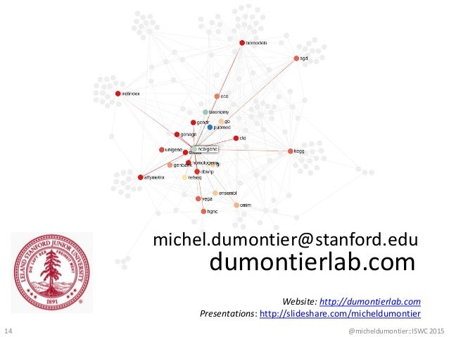 dumontierlab.com michel.dumontier@stanford.edu Website: http://dumontierlab.com Presentations: http://slideshare.com/miche...