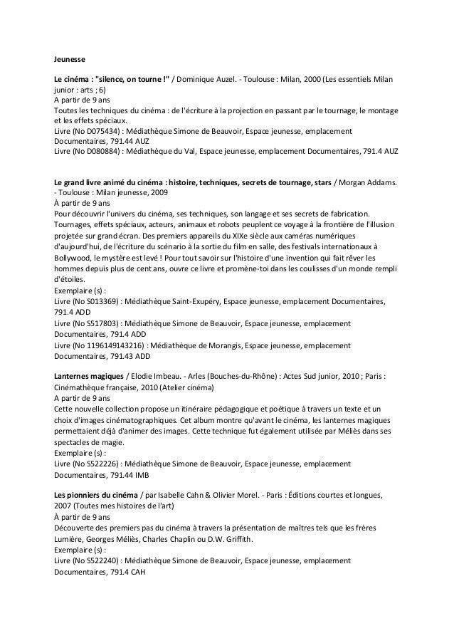 """Jeunesse Le cinéma : """"silence, on tourne !"""" / Dominique Auzel. - Toulouse : Milan, 2000 (Les essentiels Milan junior : art..."""