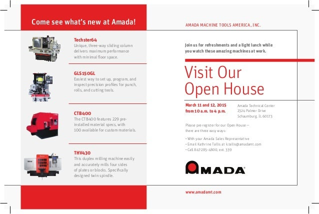 Amada cnc grinders hard milling open house invitation chicago techster64 unique three way sliding column delivers maximum performance with minimal floor space stopboris Choice Image