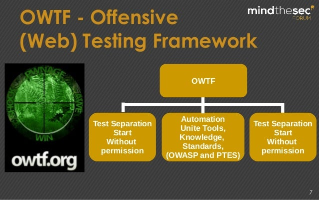 7 OWTF - Offensive (Web) Testing Framework OWTF Test Separation Start Without permission Automation Unite Tools, Knowledge...