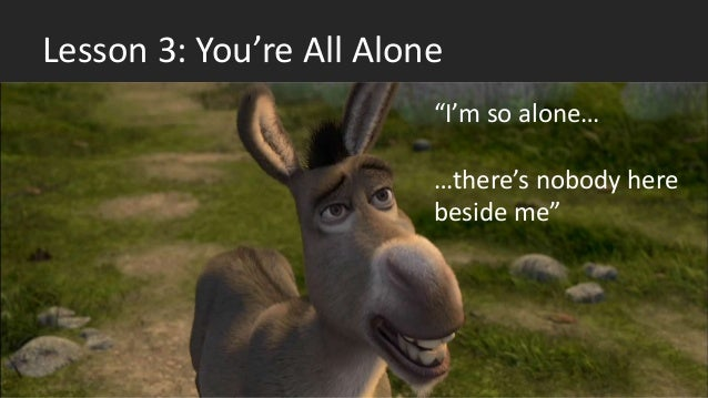 """Lesson 3: You're All Alone """"I'm so alone… …there's nobody here beside me"""""""