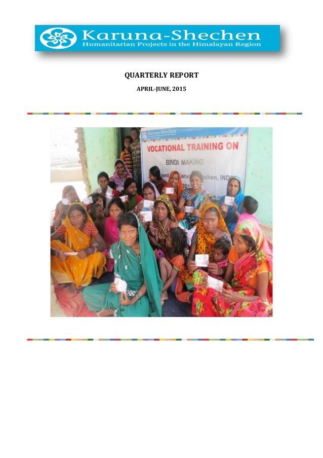 QUARTERLY REPORT APRIL-JUNE, 2015