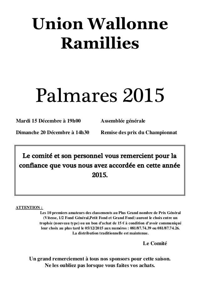 Mardi 15 Décembre à 19h00 Assemblée générale Dimanche 20 Décembre à 14h30 Remise des prix du Championnat ATTENTION : Le Co...