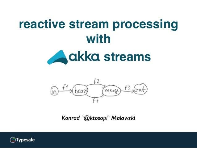 Konrad 'ktoso' Malawski GeeCON 2014 @ Kraków, PL Konrad `@ktosopl` Malawski streams reactive stream processing with