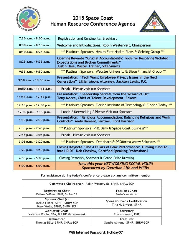 2015 Space Coast Hr Conference Agenda