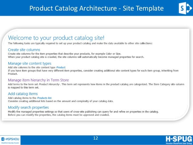 sharepoint 2013 product catalog site template - sharepoint 2013 search driven sites spshou