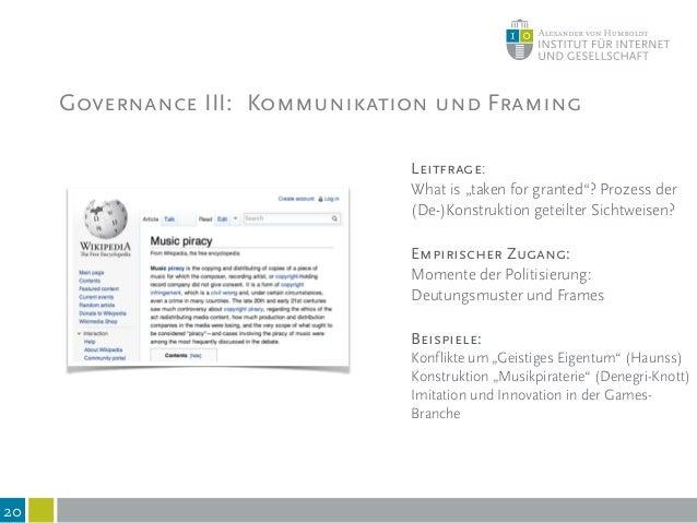 Governance IV: Governance und Technik 21 Leitfragen: Welche expliziten Regeln sind in Technologien eingeschrieben? Wie str...