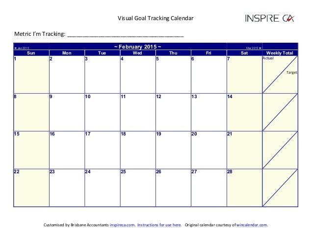 2015 Visual Goal Tracking Calendar