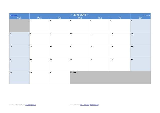 calendar template june 2015