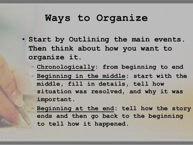 how to organize writing a memoir