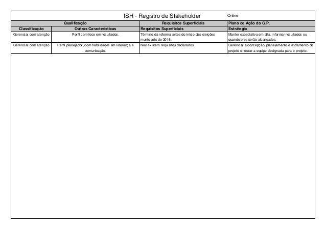 ISH - Registro de Stakeholder Online Qualificação Requisitos Superficiais Plano de Ação do G.P. Classificação Outras Carac...