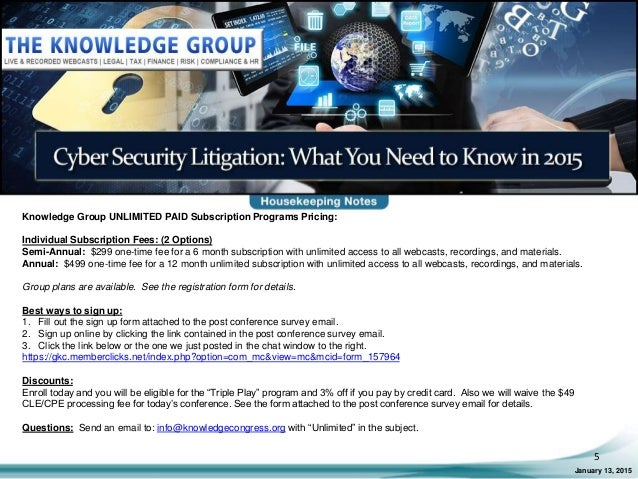 Cyber security litigation what you need to know in 2015 live webcast 5 fandeluxe Images