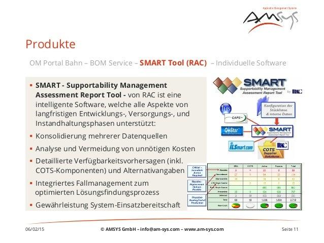 06/02/15 Seite 11 Produkte § SMART - Supportability Management Assessment Report Tool - von RAC ist eine intelligente So...