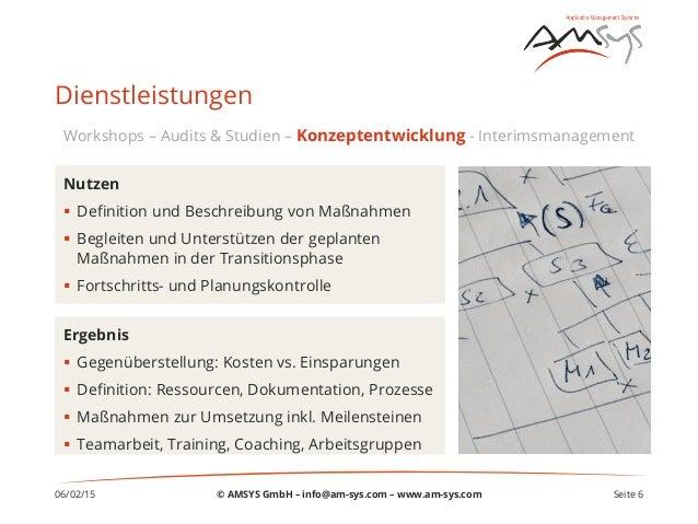 06/02/15 Seite 6 Dienstleistungen Ergebnis § Gegenüberstellung: Kosten vs. Einsparungen § Definition: Ressourcen, Dokum...
