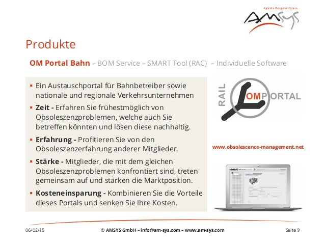 06/02/15 Seite 9 Produkte § Ein Austauschportal für Bahnbetreiber sowie nationale und regionale Verkehrsunternehmen § ...
