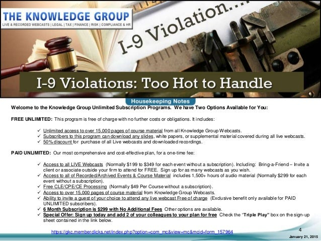 I-9 Violations: Too Hot to Handle LIVE Webcast