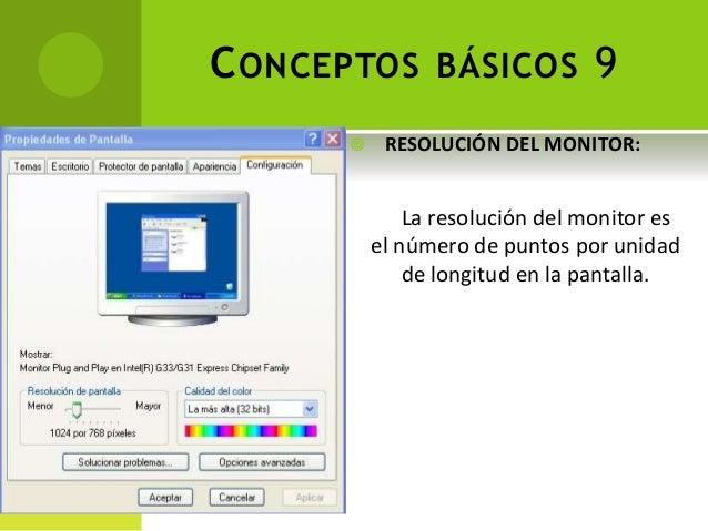 CONCEPTOS BÁSICOS 9 La resolución del monitor es el número de puntos por unidad de longitud en la pantalla.  RESOLUCIÓN D...