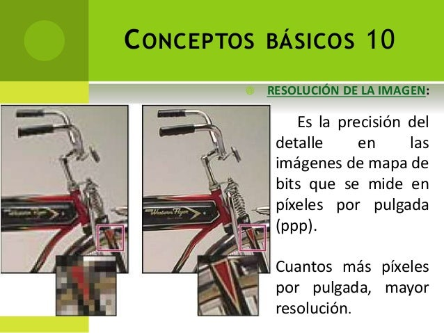CONCEPTOS BÁSICOS 10 Es la precisión del detalle en las imágenes de mapa de bits que se mide en píxeles por pulgada (ppp)....