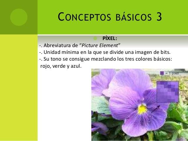 """CONCEPTOS BÁSICOS 3  PÍXEL: -. Abreviatura de """"Picture Element"""" -. Unidad mínima en la que se divide una imagen de bits. ..."""